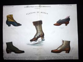 Le Moniteur de la Cordonnerie 1886 Rare Hand Colored Shoe Design Print 70